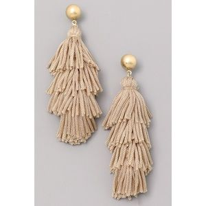Tiered Tassel Earrings in Tan